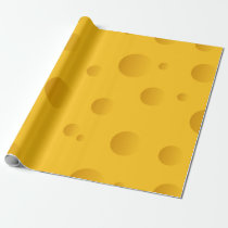 Yellow Swiss cheese novelty texture wrapping paper