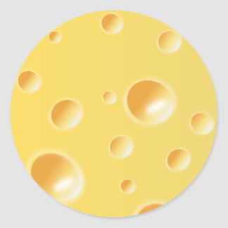 Yellow Swiss Cheese Texture Classic Round Sticker