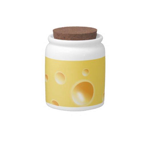 Yellow Swiss Cheese Texture jar Candy Jar
