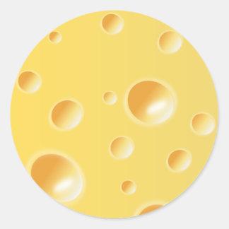 Yellow Swiss Cheese Texture Classic Round Sticker