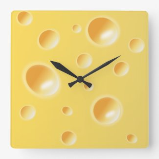 Yellow Swiss Cheese Texture Unique Kitchen Clock