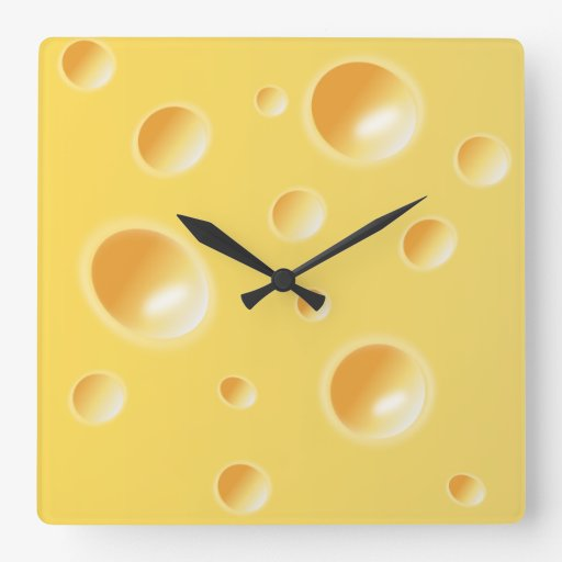 Yellow Swiss Cheese Texture Unique Kitchen Clock