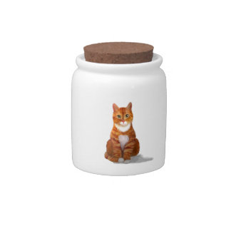 Yellow Tabby Cat Candy Jar
