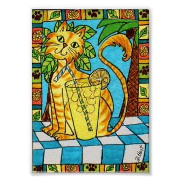 Beach Themed Yellow Tabby Cat & Glass of Lemonade Mini Folk Art Poster