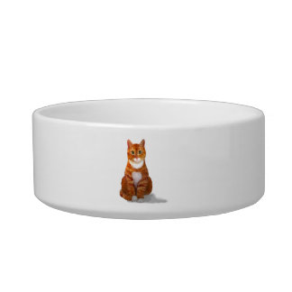 Yellow Tabby Cat Pet Bowl
