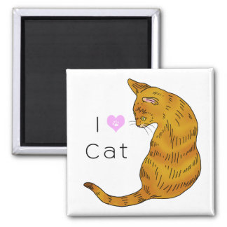 Yellow tabby cat (yellow eyes) 2 inch square magnet