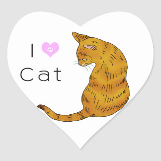 Yellow tabby cat (yellow eyes) heart sticker