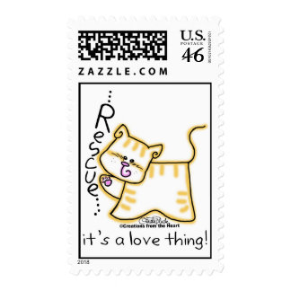 Yellow Tabby Rescue it s a love thing Stamp
