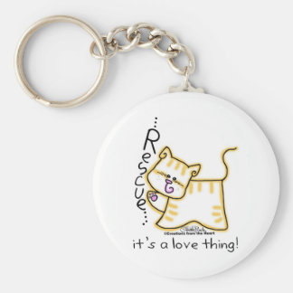 Yellow Tabby Rescue...it's a love thing! Basic Round Button Keychain