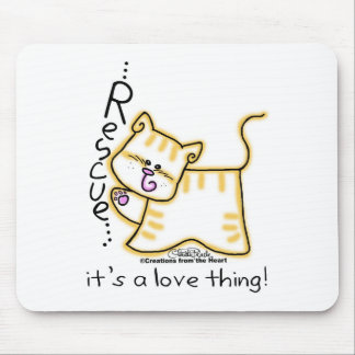 Yellow Tabby Rescue...it's a love thing! Mouse Pad