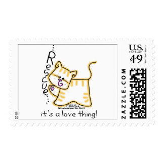 Yellow Tabby Rescue...it's a love thing! Postage Stamp