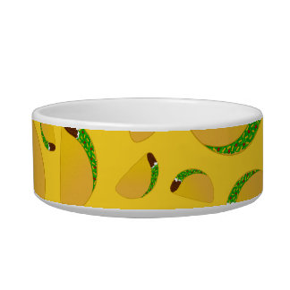 Yellow tacos cat water bowls
