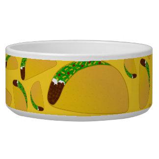 Yellow tacos dog food bowl