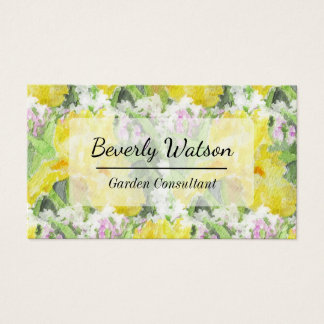 Yellow Tall Bearded Iris Watercolor Business Card