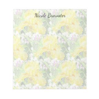Yellow Tall Bearded Iris Watercolor Notepad