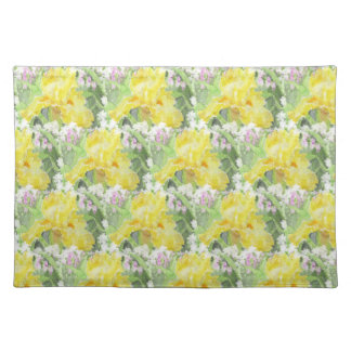 Yellow Tall Bearded Iris Watercolor Placemat