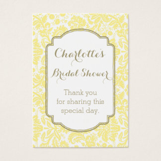 Yellow Tan Damask Bridal Shower Favor Tags
