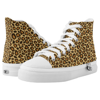 Yellow & Tan Leopard Animal Patterns High-Top Sneakers