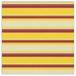 [ Thumbnail: Yellow, Tan, Red & Maroon Colored Stripes Fabric ]