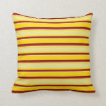 [ Thumbnail: Yellow, Tan, Red & Maroon Colored Stripes Pillow ]
