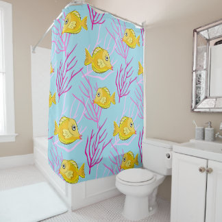 Yellow Tang and Coral Branches Cute Kids Bathroom Shower Curtain