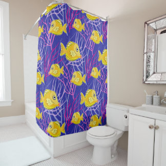 Yellow Tang and Coral Reef Shower Curtain