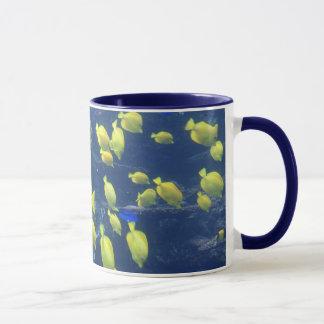 Yellow tang fish tank color photo coffee mug