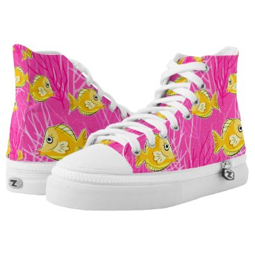 Beach Themed Yellow Tang in a Pink Coral Sea High-Top Sneakers