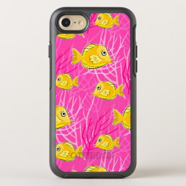 Beach Themed Yellow Tang in a Pink Coral Sea OtterBox Symmetry iPhone 7 Case