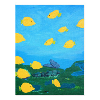 Yellow Tang in Blue Ocean Painting Postcard
