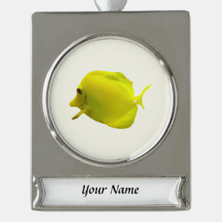 Yellow Tang Silver Plated Banner Ornament