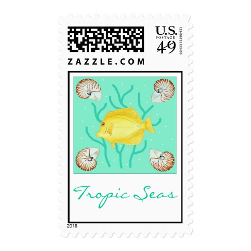 Yellow Tang with Nautilus shells Stamps