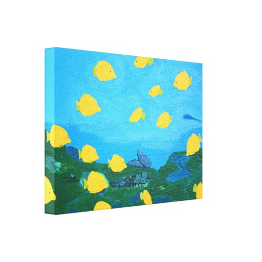 Yellow Tang Wrapped Canvas