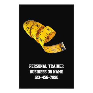 """Yellow Tape Measure Personal Trainer Weight Loss 5.5"""" X 8.5"""" Flyer"""