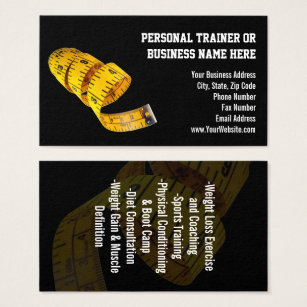Weight loss business cards templates zazzle yellow tape measure personal trainer weight loss business card colourmoves Gallery