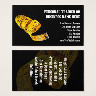 Yellow Tape Measure Personal Trainer Weight Loss Business Card