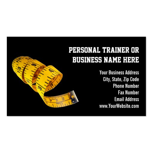 Yellow Tape Measure Personal Trainer Weight Loss Business Cards