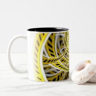 Yellow Tape Roller Coaster Ride on Fractal Rails Two-Tone Coffee Mug