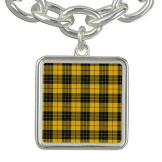 Yellow Tartan design matching jewelry set Charm Bracelet