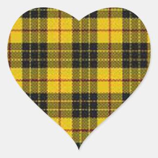Yellow tartan heart sticker