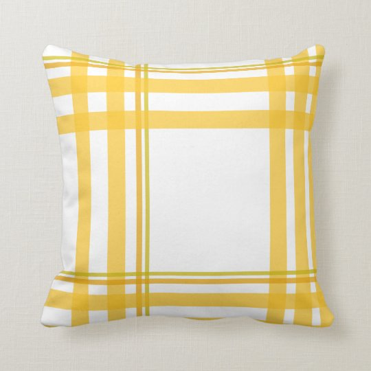 Yellow Tartan - Over Sized Design Throw Pillow