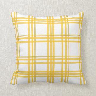 Yellow Tartan - Reversable Throw Pillow