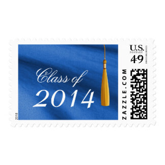 Yellow Tassel Royal Blue Graduation Stamps