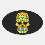 Yellow Tattoo Mexican Sugar Skull Oval Sticker at Zazzle