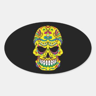 Yellow Tattoo Mexican Sugar Skull Oval Sticker