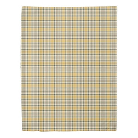 Yellow, Taupe and Navy Blue Urbanite Plaid Pattern Duvet Cover
