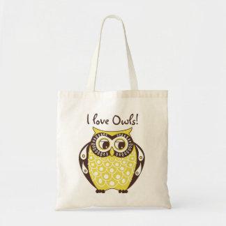 Yellow Tawny Owl I Love Owls Tote Bag