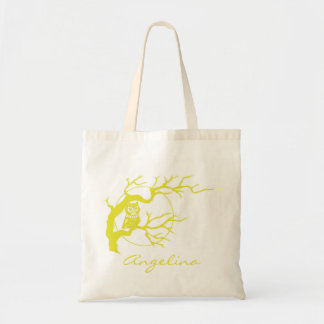 Yellow Tawny Own Perched on a Tree Canvas Tote Bag