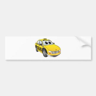 Yellow Taxi Cab Cartoon Bumper Sticker