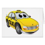 Yellow Taxi Cab Cartoon Greeting Card
